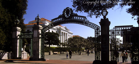 Sproul Plaza through Sather Gate